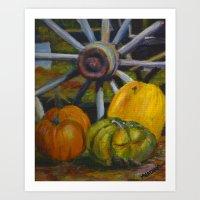 Wheel and Harvest Still Life Art Print