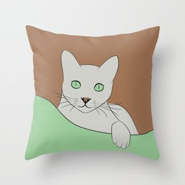 Russin Blue Cat Portrait Throw Pillow