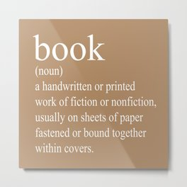 Book Definition (White on Tan) Metal Print