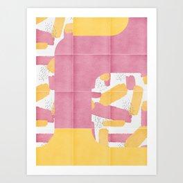 Bold Painted Tiles 01 #society6 #midmod Art Print
