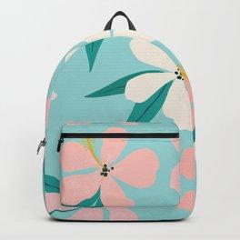 Sweet Tropical Flower Pattern on Sky Blue Backpack