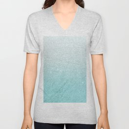 Modern chic teal pastel gradient faux glitter Unisex V-Neck