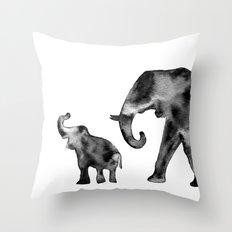 Elephants, black and white Throw Pillow