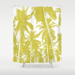 Palm Trees Design in Gold and White Shower Curtain