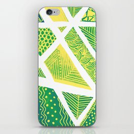 Geometric doodle pattern - green and yellow iPhone Skin