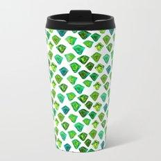 Green gemstone pattern. Metal Travel Mug
