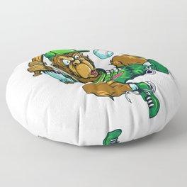 Baseball Monkey - Lime Floor Pillow