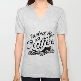 Coffee And Country Music Funny Musicians Gifts Unisex V-Neck