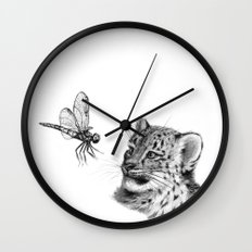 Snow leopard cub and dragonfy G148 Wall Clock
