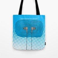 headphones Tote Bags featuring Headphones by Miguel Villasanta