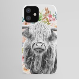 Cutest Highland Cow With Flowers iPhone Case