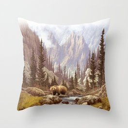 Grizzly Bear Landscape Throw Pillow