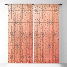 orange pattern Sheer Curtain