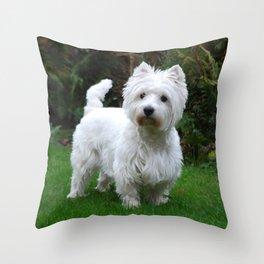 Westie in the garden Throw Pillow