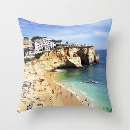 Praia de Carvoeiro, Algarve, Portugal - Deep blue waters Throw Pillow
