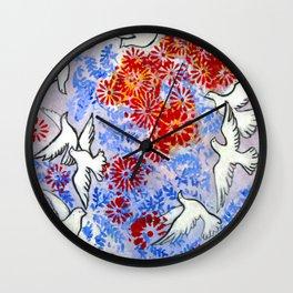 Floral Doves  #society6 #decor #buyart Wall Clock
