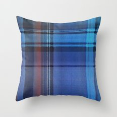 Plaid Blues Throw Pillow