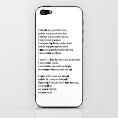 10 Things i Hate About You - Poem iPhone & iPod Skin