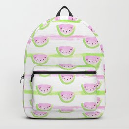 Modern pink lime green watercolor watermelon stripes Backpack