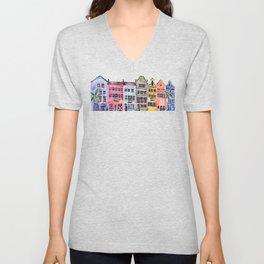 Rainbow Row – Charleston Unisex V-Neck