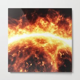 Sun surface with solar flares Metal Print