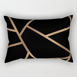 Black and Gold Fragments - Geometric Design Rectangular Pillow