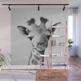 Baby Giraffe - Black & White Wall Mural