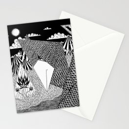 Bird Crossing over the full moon Stationery Cards