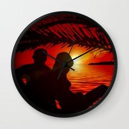 Silhouette Pair Sunset Tree Longing Love Wall Clock