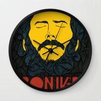 bon iver Wall Clocks featuring Bon Iver by Oliveira37/Tadeu Amaral