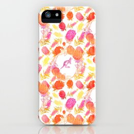 Lovely Australiana Floral Print - Kangaroos and Australian Native Florals iPhone Case