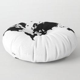 Black and White world map Floor Pillow