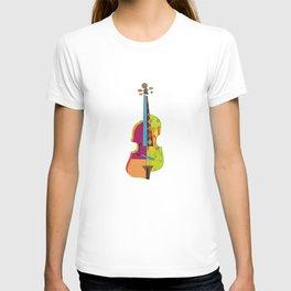 A colorful violin T-shirt