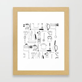 Kitchen essentials in black and white Framed Art Print