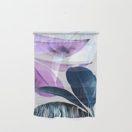 Blue Violet Leaves Wall Hanging