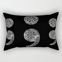Patterned Semicolon: White on Black Rectangular Pillow