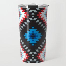 Colorful patchwork mosaic oriental kilim rug with traditional folk geometric ornament. Tribal style Travel Mug