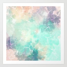 Marbled Watercolor On Canvas Art Print