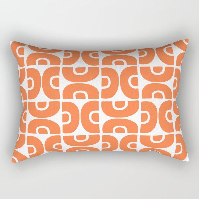 Groovy Mid Century Modern Pattern Orange Rectangular Pillow