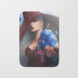 Kissed by the light - Blonde girl with hat and blue flowers Bath Mat