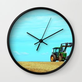 Tractor and Hay Roll on the Ridge Wall Clock
