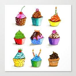 Illustration of tasty cupcakes Canvas Print