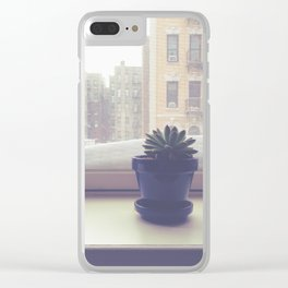 Snowy Succulent on Sill Clear iPhone Case