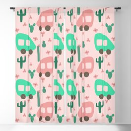 Camper Vans in Pink and Mint with Green Cactus and Pink Flowers Blackout Curtain