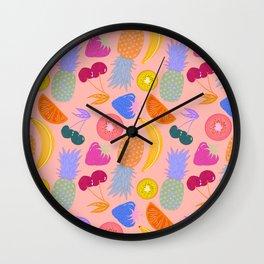 Fruity Pattern Pastel Pink Background  Wall Clock