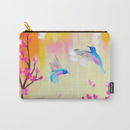 Hummingbirds with pink and yellow Carry-All Pouch