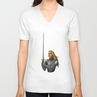 knight V-neck T-shirts featuring Knight by Egberto Fuentes