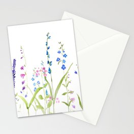 purple blue wild flowers watercolor painting Stationery Cards