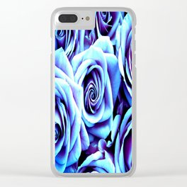 Bright Blue Flowers Clear iPhone Case