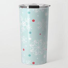 Christmas Snowflakes with Red and Blue Polka Dots Pattern Travel Mug